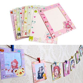 ac VLXC Newest 9 pcs/set 6 Inch Wall Hanging Cute Animal Paper Photo Frame for Pictures Free shipping-Y102