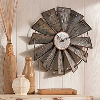 Wall Clock Metal Windmill Rustic Large Round Embossed Farm Country Clocks
