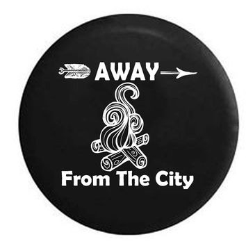 Away from the City Campfire Camping Outdoors Vacation RV Camper Jeep Spare Tire Cover