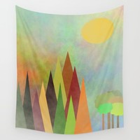 Whimsical Landscape Wall Tapestry by Kathleen Sartoris