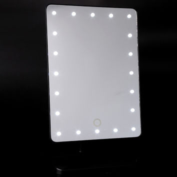 Adjustable Vanity Tabletop 20 LEDs Lighted Touch Screen  Portable make up mirror