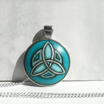 Hand Painted Celtic Necklace, Blue Necklace, Celtic Triangle, Turquoise Blue Pendant, Triangle Art, Geometric Necklace Bezel, Artdora