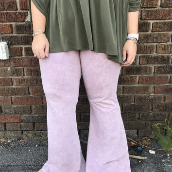 Light Pink Mineral Washed Bell Bottoms