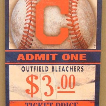 "CLEVELAND INDIANS GAME TICKET ADMIT ONE GO INDIANS WOOD SIGN 6""X12'' WINCRAFT"