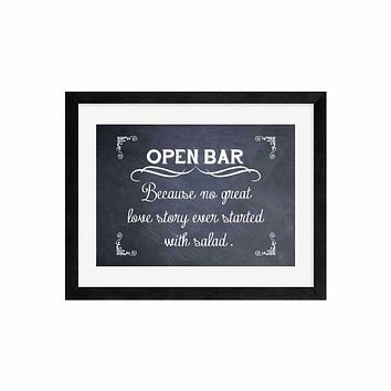 Open Bar Wedding Sign Funny Wedding Sign Decor Alcohol Bar Decoration -Print Only