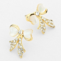 Rhinestone Bow Print Rhinestone Gold Earrings