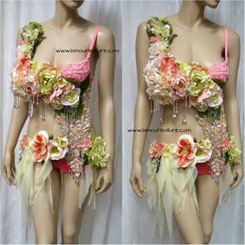 Green Peach Spring Fairy Monokini Cosplay Dance Costume Rave Bra Halloween Burlesque Show Girl