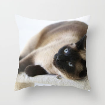 Sulley, A Siamese Cat Throw Pillow by Theresa Campbell D'August Art