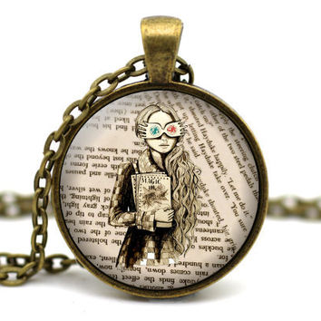 Luna Lovegood Necklace, Harry Potter Necklace, Harry Potter Jewelry, Book Necklace, Luna Necklace, Quibbler