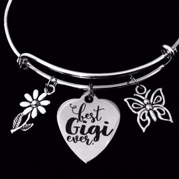 Best Gigi Ever Expandable Charm Bracelet Adjustable Silver Bangle Meaningful One Size Fits All Gift Grandmother Butterfly Daisy