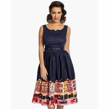 Delta Navy Carnaby Street Border Dress by LindyBop