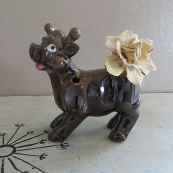 Vintage Vase Vintage Planter Cow Planter Bull Planter Brown Flower Fase Flower Vase Pencil Holder Brown Drip Pottery