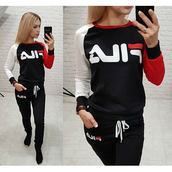 FILA Women Casual Letter Pattern Print Long Sleeve Trousers Set Two-Piece Sportswear