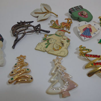 Set of 12 Festive Vintage Christmas Holiday Pins, Brooch Pin Flair, Scarf Jewelry Decor, Assorted Collection, Stocking Stuffers, Office Gift