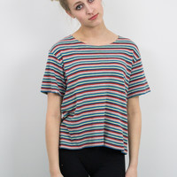 Vintage Striped Boxy Patterned T shirt