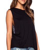Velvet by Graham & Spencer Luxe Slub Sanaa Tank in Black