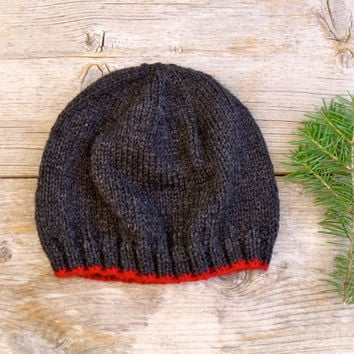 SALE 25% OFF - Men's Basic Beanie in Dark, Charcoal Gray with Bright, Cranberry Red Edging