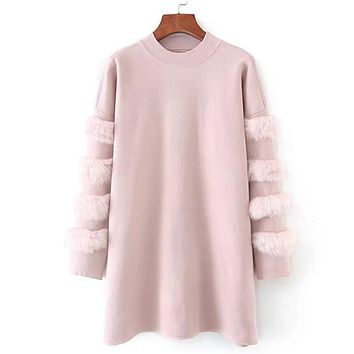 Women Spring Winter Long Sweaters Casual Turtleneck Pullover and Jumpers Real Rabbit Fur Sweater pull femme Pullovers Kerst Trui