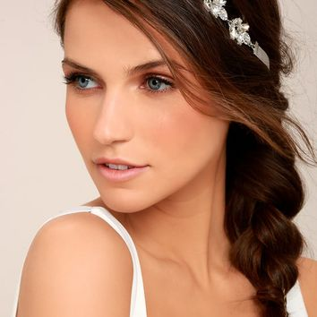 Go With Grace Grey and Silver Rhinestone Headband
