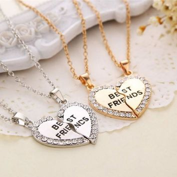 Rhinestone Heart Best Friends Necklaces Set of 2