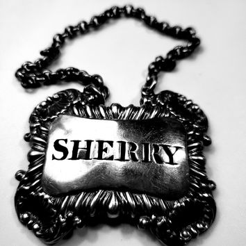 Sterling Silver decanter tag - Sherry