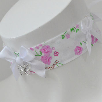 Sleeping beauty - white and pink cute kawaii lolita neko kitten pet play dd/lg girl little princess collar choker