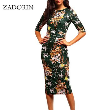 Vintage Floral Print Short Sleeve Bodycon Pencil Dress Women Elegant Dresses Summer Casual Dress robe femme vestidos mujer
