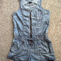 Light blue jean short jumpsuit