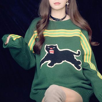 GUCCI HOT SALE Round neck letters printed loose long sleeve pullover knit sweater