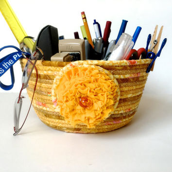 Clothesline Organizer - Coiled Rope Basket - Back to School - Gold Upcycled Planter - Handmade Quilted - Fiber Art Decor by Sally Manke