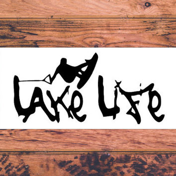 Lake Life Decal | Jet Ski Decal | Boating Decal | On The Lake Decal | Preppy Decal | Cute Car Vinyl Decal | Southern Vinyl Car Decal  | 292