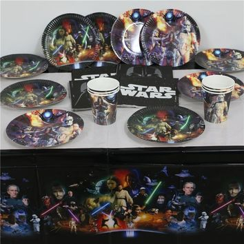 Star Wars Force Episode 1 2 3 4 5  birthday decorations kids boys event party supplies disposable plates cups napkins map tablecover 61pcs for 20people AT_72_6
