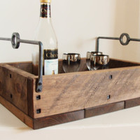 Reclaimed Wood Serving Tray Storage Box Candle Holder Wine Beer Holder Christmas Decor Forged Iron Handles Wine Display Industrial Home