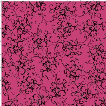 Elegant Scroll Pink / Black Fabric