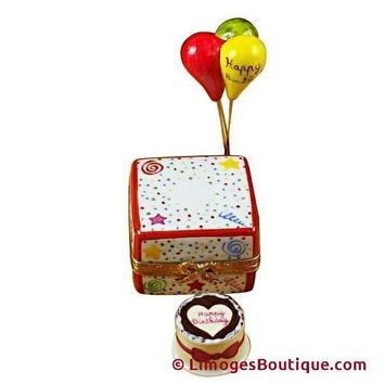 BIRTHDAY CAKE W/BALLOONS  & CONFETTI LIMOGES BOX