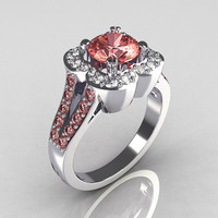 Classic 2011 Trend 18K White Gold 1.0 Carat Morganite Diamond Celebrity Fashion Engagement Ring R104-18KWGDMO