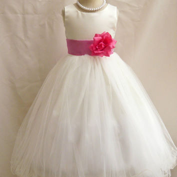 Curly Bottom Dress Ivory with Colorful Sash (Flower Girl Dress)