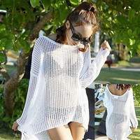 Summer Loose Hollow Crochet Bikini Swimwear Cover Up Beach Dress White (Color: White) = 5657637249