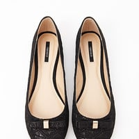 FOREVER 21 Quilted Bow Ballet Flats