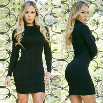 Black Long Sleeve Cowl Neck Bodycon Mini Dress