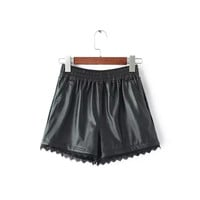 Black Faux Leather Lace Drawstring Shorts