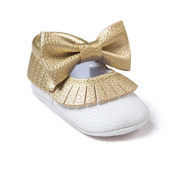 Baby Girls Mary Jane Flower Baby Shoes PU Leather Baby Moccasins Gold Bow Girls First Walker Toddler Moccs
