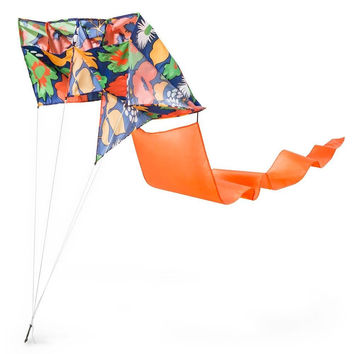 NWT Marimekko Nylon Fabric Kite with Tail Storage Bag String Beach Bold Floral