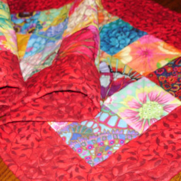 """Quilted Table Runner, Table Runner, Table Decor, Kaffe Fassett, """"Pizazz"""" Red, Patchwork, Free Shipping USA"""
