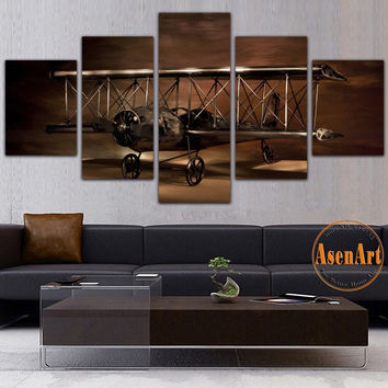 5 Panel Painting Airplane Aircraft Model Biplane Wall Art Canvas Prints Modern Artwork Wall Pictures for Living Room Unframed