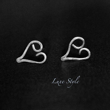 Heart Ear Rings Sterling Silver Metal Jewelry Heart Stud Ear Rings small Wire Handmade Luxe Style