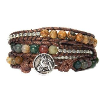 Horse Lovers Equestrian Bracelet Indian Agate Bead Wrap