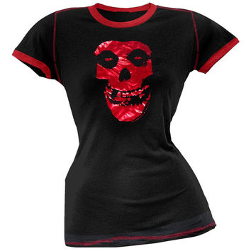 Misfits - Red Foil Skull Juniors Ringer T-Shirt