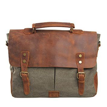 DesertWolf Cotton Canvas Genuine Crazy-horse Leather Cross Body Laptop Messenger Bag - Men Business Vintage Handbag / Briefcase - Fit 15 Inch Laptop