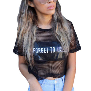 Black Metallic Panel Insert Mesh Crop Top